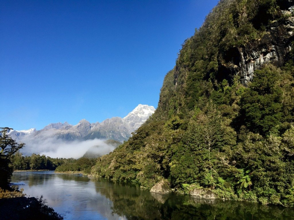Pyke River with misty Mt Madeleine in the background