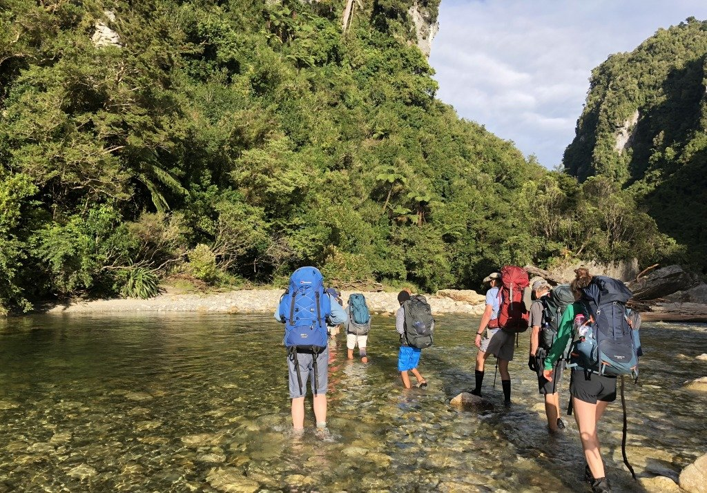 Kiwi-style hiking with multiple river crossings - keep boots on as they protect your fragile feet (sorry!)
