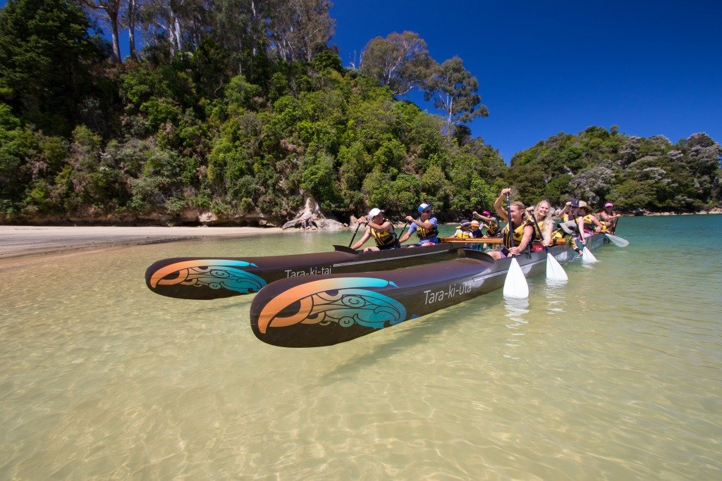 The Waka (Canoe) outpaces sea kayakers by a country mile!